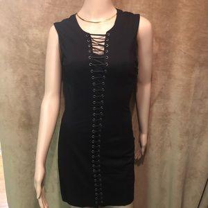 Bebe Black Slip Lace Up Sleeveless Detail Dress